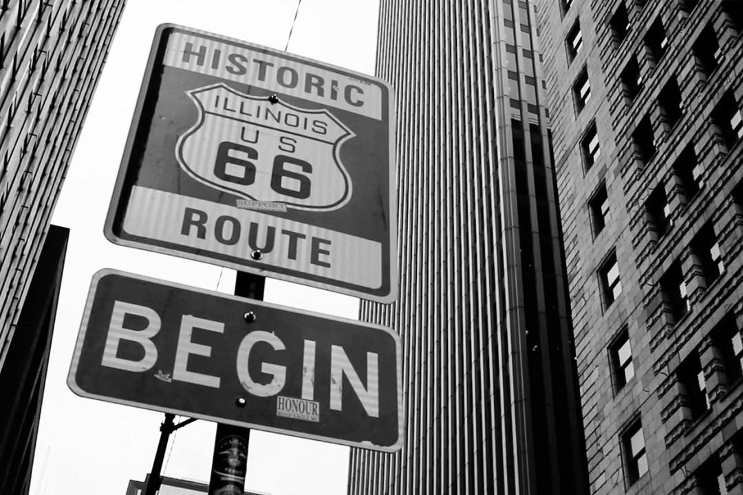 Señal de inicio de la Ruta 66